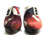 AUTHENTIC EMILIO PUCCI Red Print Corduroy Slip On Heeled Mule Clog Size 38