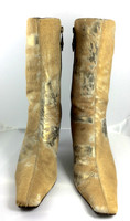 "DONALD J. PLINER Tan Bronze Calf Hair Leather ""Enza"" Mid Calf Bootie Size 7"