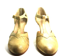 AUTHENTIC MARC JACOBS Gold Leather T Strap Pump Heel Size 37.5