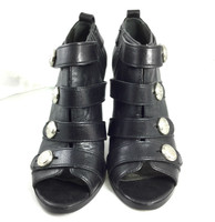 COACH Black Leather Open Toe Ankle Bootie Size 7.5