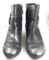 "DONALD J. PLINER Black Brushed Metallic Leather ""Diem"" Moto Bootie Size 7"