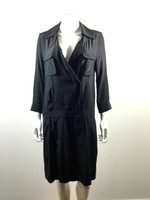 DEREK LAM Black Button Down 3/4 Sleeve Shirt Dress Size 10