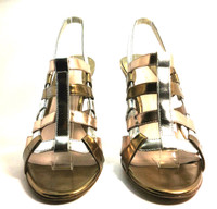 AUTHENTIC ELIE TAHARI Metallic Leather Gladiator Sandal Heel Size 37.5