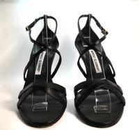 AUTHENTIC MANOLO BLAHNIK Black Leather Strappy Heel Pump Size 36.5