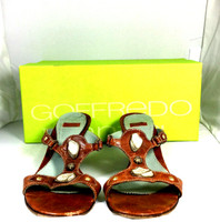 AUTHENTIC GOFFREDO FANTINI Brown Leather Slide On Heeled Sanda; Size 37.5 $340