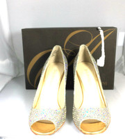 AUTHENTIC ENZO ANGIOLINI Gold Silver Merryann Peep Toe Pump Size 6.5
