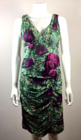 NANETTE LEPORE Turquoise Floral Silk Sleeveless Rosette Cocktail Dress Size 4
