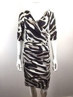 DIANE VON FURTSTENBERG DVF Bentley Black White Print 3/4 Sleeve Silk Dress Sz 6