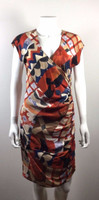 PLENTY BY TRACY REESE Multi Color Print Short Sleeve Silk Dress Size 8