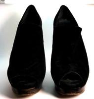 STUART WEITZMAN Black Suede Peep Toe Platform Pump Size 9