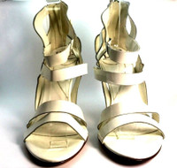 DIANE VON FURSTENBERG DVF NEW White Patent Leather Strappy Heeled Pump Size 8M