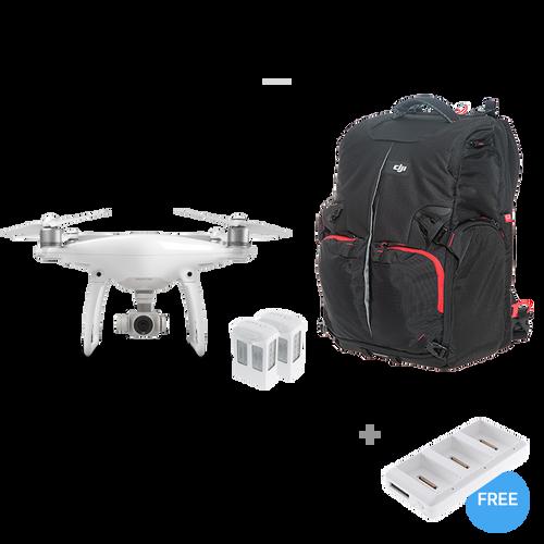 Phantom 4 + Two Extra Batteries + Phantom Backpack + Battery Charging Hub