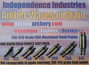 ONE DOZEN 100-315 GRAIN FIELD POINT TEST PACK