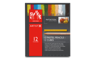 Caran d'Ache Initiation Assortment - 12 Pastel Pencils & 12 Pastel Cubes