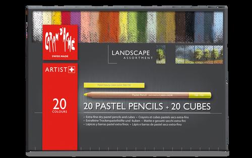 Caran d'Ache Landscape Assortment - 20 Pastel Pencils & 20 Pastel Cubes