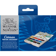 COTMAN WATER COLOURS WHOLE PAN PAINTING BOX - 12 WHOLE PANS