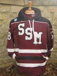 For the Super Sport Fan.  100% sublimated design on the outer shell and interior hood.  100% polyester brushed shell, soft fleece interior lining.  This jersey sweatshirt is a replica of the current SSM hockey jersey.