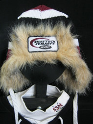 Time for some fun and warmth. Created by Gong Show just for SSM. Knit hat with fur accents and hockey lace ties.  One size fits all.