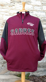 Maroon sweatshirt with charcoal gray accents. Quarter zip fleece pullover with screened logo and side pockets. Adult sizes available.