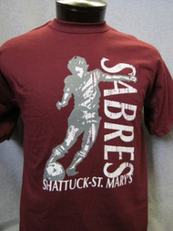 Maroon soccer t-shirt with player XXL