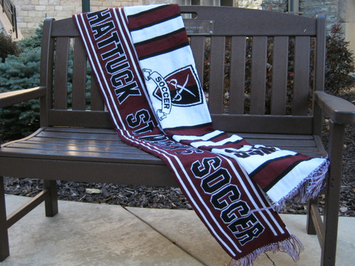 Cheer on your team with a custom soccer scarf. The item is 64 inches long, approx. 7.5 inches wide, and it's made of 100% acrylic yarn.