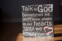 Shellie Rushing Tomlinson - Talk To God - 12x12 Brown with Coral Heart Cafe Mount *SALE*