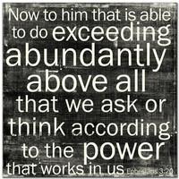 Ephesians 3:20 12x12 Black Cafe Mount *SALE*