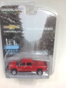 1:64 2015 Chevrolet Silverado, Red, with Snow Plow and Lift Kit