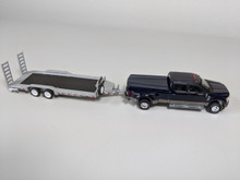 1:64 Hitch & Tow 2018 Ford F-350 King Ranch Dually - Blue Jeans Upper with Stone Gray lower (accent) and HD Flat Bed Trailer