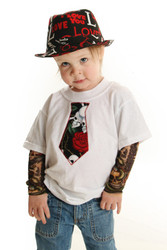 Skull and roses tie applique shirt