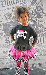 Girls Pirate Skull Tattoo Sleeve Shirt