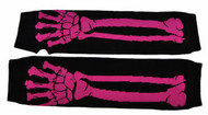 Punk Fingerless Gloves Pink Skeleton
