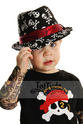 Toddler Skull Print Fedora Hat
