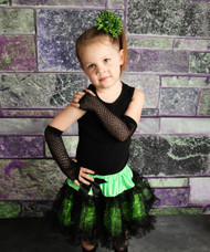 Lime Green and Black Lace Pettiskirt Set for Toddler Girls