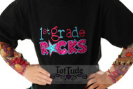 1st Grade Rocks Girls Tattoo Sleeve T Shirt