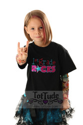 2nd Grade Rocks Girls Tattoo Sleeve Shirt