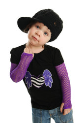 Punk Applique Shirt for Girls with Fishnet Gloves