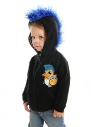 Blue Mohawk Hoodie- Punk Ducky embroidered