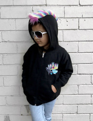 Mohawk Hoodie- Punk Hoodie - Rebel Princess -Girls Punk Clothes - Punk Baby Clothes - Rainbow Mohawk - Fauxhawk - Fur Mohawk - Girls Hoodie
