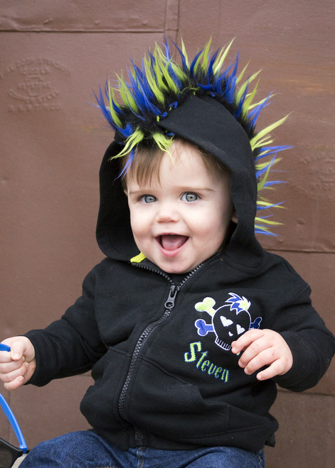 Fur Mohawk Hoodie Punk Skull Personalized Embroidered