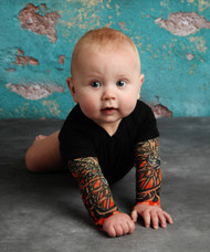 Flames tattoo tee bodysuit
