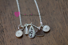 Love Necklace with 2 milk drops with text OR Birthstone