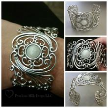Sterling Silver Cuff Bracelet with 12mm Breast Milk Bead