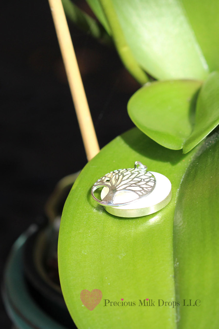 Tree of life with breast milk bezel glow option for Breastmilk jewelry tree of life