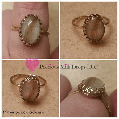 smooth stone with hair 14k Gold  Breastmilk ring 10x14