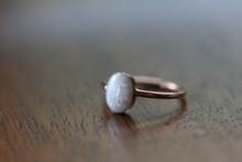 Breast Milk Stone  9x7 Oval  Ring  - 14K Solid Gold