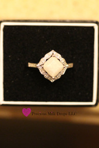 14k Gold with Square Detailed diamond Halo Ring