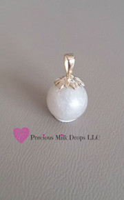 10mm 14K white Gold Leaves MilkDrop Pendant
