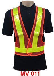 Safety Vest V Neck (Netting) Orange + Yellow