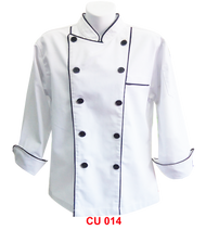 Chef Jacket White With Black Piping 2 Lines (Young Cutting)